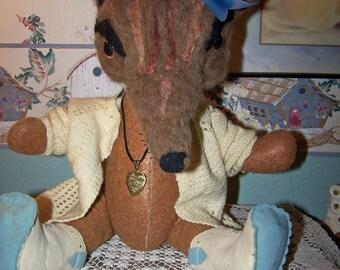 Vintage Antique Style Fox Doll Needle Felted Baby Fox Woodland Animal Ooak