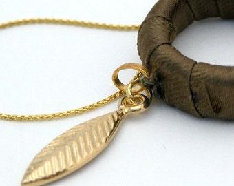 Mother Gift For Women, Gold Leaf Greek Goddess Necklace, Leaf Pendant Necklace, Hoop Leaf Necklace