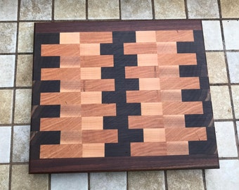 Cheese board End grain trivet  walnut maple and Cherry wood
