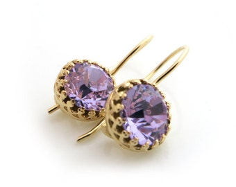 Purple Earrings, Swarovski Earrings, Violet Earrings, Gold Earring, Bridesmaid Gift Set, Bridal Earrings, Bridesmaid Thank You, Gift For Her