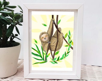 Hanging Sloth Illustrated Art Print, Cute Sloth Character Wall Decor, Funny Sloth Gifts For Friends, Sloth Lover Home Decor, Nursery Art