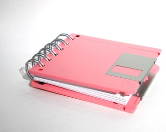 Floppy Disk Notebook - Geek Book - Recycled Computer Diskette - Pink