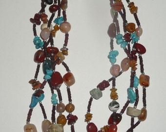 Vintage Multi-Color Multi-Strand Stone Necklace, Vintage Multi-Strand Necklace, Vintage Stone Necklace, Layered Necklace