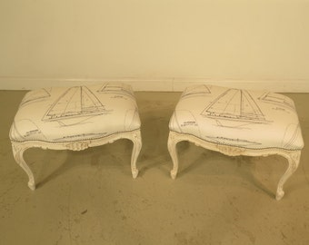 37509E: Pair French White Nautical Benches