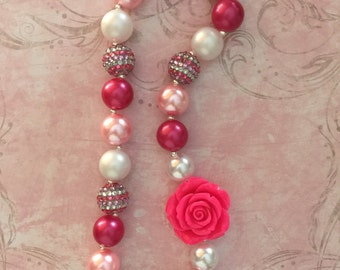 Pink Rose Chunky Bead Bow Girls Necklace ~ Pink Rose Chunky Necklace