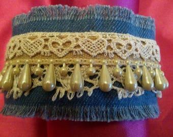 Vintage  Lace and Beaded Trim Denim Bracelet