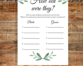 Greenery How Old Were They Bridal Shower Game, How Old Were They Rehearsal Dinner Game, Printable Game,  Instant Digital Download