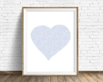 "wall art prints, instant download, printable art, minimalist wall art, heart, blue, large art, large wall art, art, abstract - ""Blue Heart"""