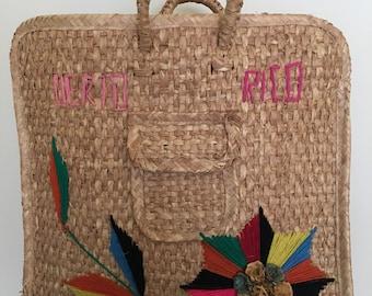 1970s Large Woven Tote Market Bag | Beach Tote Bag Farmers Market Bag Picnic | 70s Bag XL Bag Tote Leather Handle