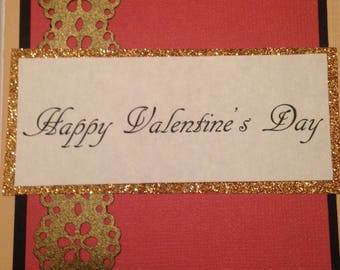 Gold Paperlace Handmade Valentine's Day Card