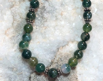 Moss Agate necklace,gemstone necklace, necklace,jewelry,natural,unique,genuine,moss agate,gemstone,silver,beaded necklace,gifts for women