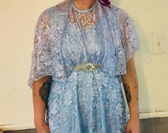 Stunning 1950's Blue Lace Dress