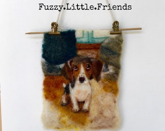 Puppy wool painting, needle felted wall hanging, needle felted puppy wool painting, dachshund, nursery, gift, birthday, cards