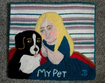 My Pet, Primitive Hand Hooked Rug
