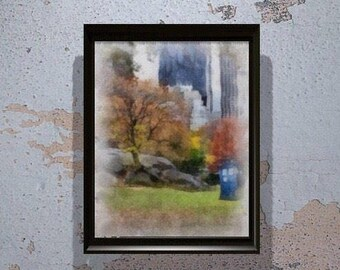 Doctor Who Tardis in Central Park in Watercolor (Instant Download) - Printable - Tardis Wall Art - Dr who - Blue Box - The Doctor - whovian