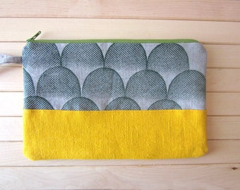 Hand printed yellow pouch, geometrical pouch, Zipper cosmetics pouch, hand painted canvas