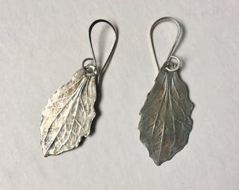 new artisan sterling leaf earrings