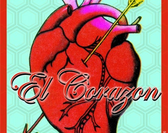 El Corazon Mexican Loteria Bingo Game inspired magnet