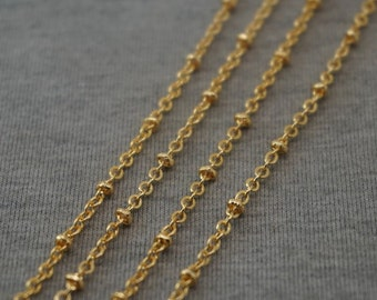 16Ft  (5m) Golden Plated Copper Chain Bead Chain Flat O-shaped Ball Chain 2mm -B3816