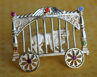 Collectible Pin/Brooch Vintage AJC Lion in Circus Wagon Cage with Rhinestones