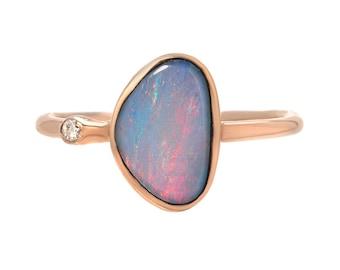 Opal Ring, Opal Diamond Ring, Organic Ring, Opal Doublet Ring, Opal Rose Gold Ring, October birthstone, Birthstone Ring, Opal, Diamond,Nixin