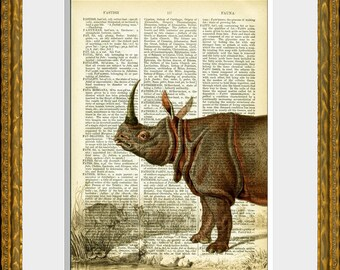 RHINOCEROUS recycled book page art print - upcycled antique dictionary page with a retooled antique African animal illustration - wall art