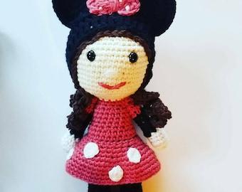 Crochet Minnie Mouse Doll, Crochet Minnie Mouse, Crochet Mouse Girl, crochet doll, cotton doll