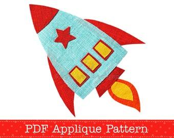 Rocket Applique Template PDF Pattern Spaceship Applique Design by Angel Lea Designs