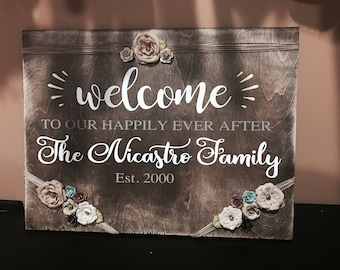 Family sign, Welcome to our happy place, welcome home, wedding gift, newlyweds, engagement gift, house warming gift, family gifts