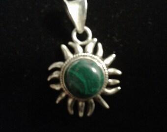 Malachite Sun Pendant Mexico 950 SIgned MWS Sterling Silver