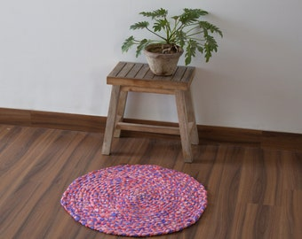 Handmade Rug Mat Dhurrie, Rag Rug, Chindi Dhurrie, Traditional 2 x 2 ft, 4 x 4 ft, Multicolour, Pink Purple Rug, Floor & Rugs, FREE SHIPPING
