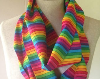 Rainbow Lightweight CottonInfinity Scarf Rainbow Pride Scarf