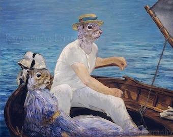 Funny Squirrels, Boating, Édouard Manet, Whimsical Art print, Animal Morph, Nautical art, Cute Squirrels, Animal Lover, Manet Tribute