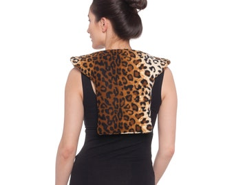 Microwave Heat Pack For Shoulder Neck Upper Back, Hot Cold Heating Pad, Washable, Leopard, Large