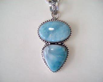 Genuine Larimar Pendant in Sterling Silver - XL