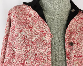 Rare Vintage Cotton Jacket || 1950's Novelty Print Top || Handmade Reversible Shirt