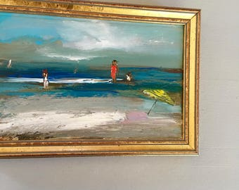 Yellow Umbrella - Small Beach Scene Painting- Figures on Beach Painting- Original Painting-6 x 8-1/2 approx. inch - including Frame