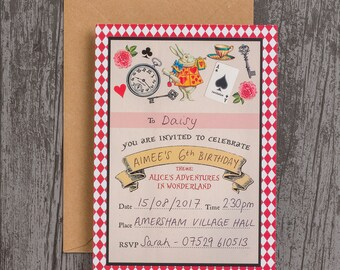 Ready to Write Alice in Wonderland Birthday Party Christening Baptism Baby Shower Invitations Pack of 10