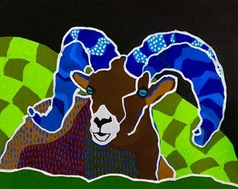 Bighorn Sheep Painting, Bighorn Sheep Gouache Painting, Bighorn Sheep Portrait, Bighhorn Sheep Wall Art, Wildlife Art, Bighorn Sheep