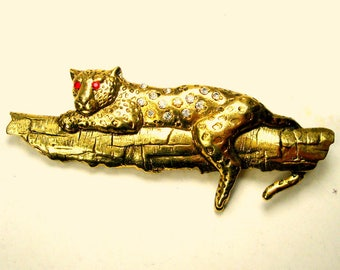 Leopard up a Tree Pin, Vintage Rhinestone JJ Style Great Cat Brooch 1990s Bronze Color Metal, Red Eyes