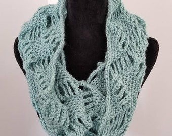 10.00 OFF Infinity Scarf - Cowl scarf - handmade scarf - crocheted scarf - Circle Scarf - Gift for Her - Seafoam Scarf