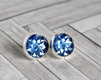 blue sparkle stud earrings, post earrings, boho jewelry, gift for her, gift for teens