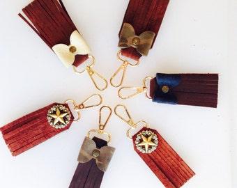 Leather Key Chain, Handmade Key Chain, Custom Purse Charm, Leather Purse Charm, Leather Bow, Metal Star, Bridesmaide Gift, Womens Gift