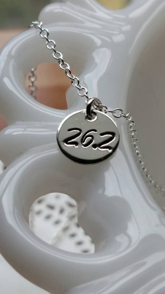 Personalized Runners Necklace - Dainty Tiny Disc | Sterling Silver 13.1 Half Marathon | 26.2 Full Marathon | Race Accomplishment Jewelry