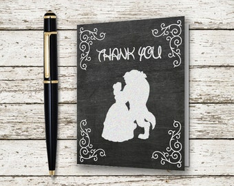 Beauty and the Beast Chalkboard Thank You Cards Printable Download Digital File Wedding Bridal Shower Baby Stationary Note Card Chic Rustic