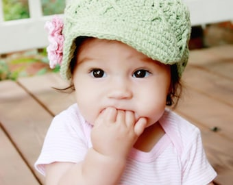 Baby Girl Crochet Hat with Flowers, Cotton Hat for Baby Girls, Newsboy for Girls, Girls Hat with Brim, 0-3 Months Baby Girls Crochet Hat