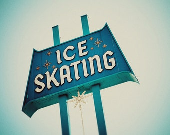 Ice Skating Sign | Culver City Ice Arena | Mid Century Wall Art | Retro Holiday Decor | Vintage Ice Rink Sign | Los Angeles Wall Art