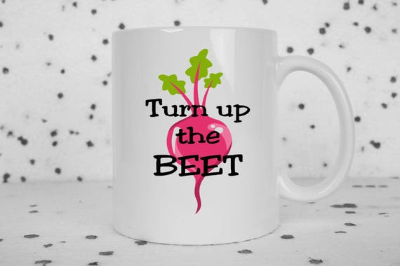 Turn up the beat pun coffee mug