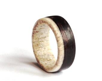Ebony Mens Ring, Antler Men Ring, Wood  Wedding Band, Unisex Ring, Teal Ring