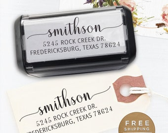Custom Address Stamp, Custom Stamp, Self Inking Return Address Stamp, Wedding address stamp, Calligraphy Stamp, Personalized - Smithson